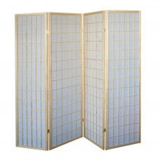 31-531 Natural Wood Folding Screen Panel (4 Panels/Beige)