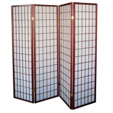 31-566 Natural Wood Folding Screen Panel (4 Panels/Red Wine Color)