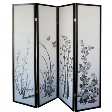 31-590 Black Frame Flowery Folding Screen Panel (4Panels/Black)
