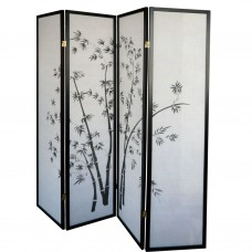 31-591 Black Frame Bamboo Folding Screen Panel (4 Panels/Black)