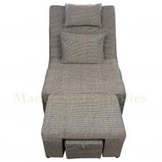611 Black & White Stripes Fabric Massage Sofa
