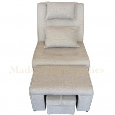 A02 - 006 Gray & White Stripes Fabric Massage Sofa