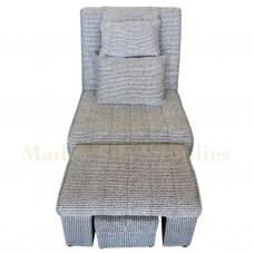 A02 - 008 Black & White Stripes Motorized Massage Sofa